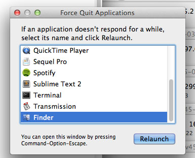 Restart Finder on MAC